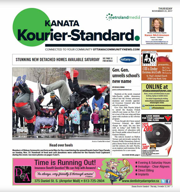The front page of the Kanata Kourier-Standard on Nov. 23, 2017.