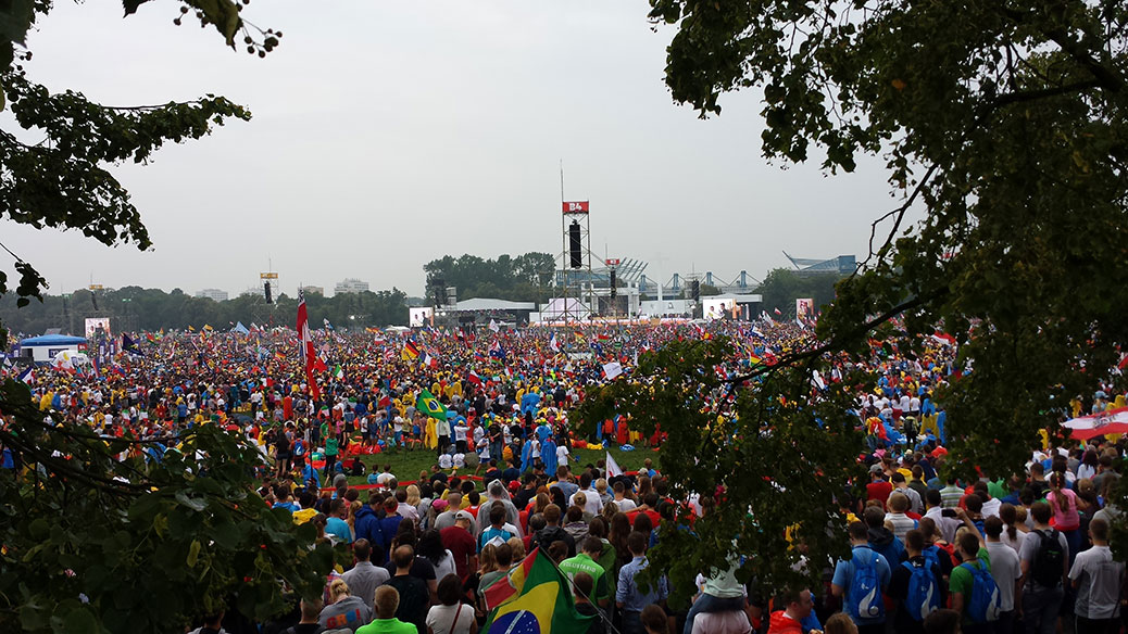 A massive crowd of people attend World Youth Day in Karkow, Poland.