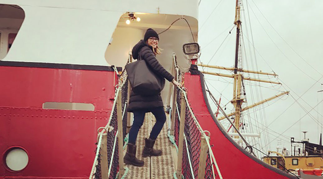 Tania Kratt boards the Canada C3 icebreaker.