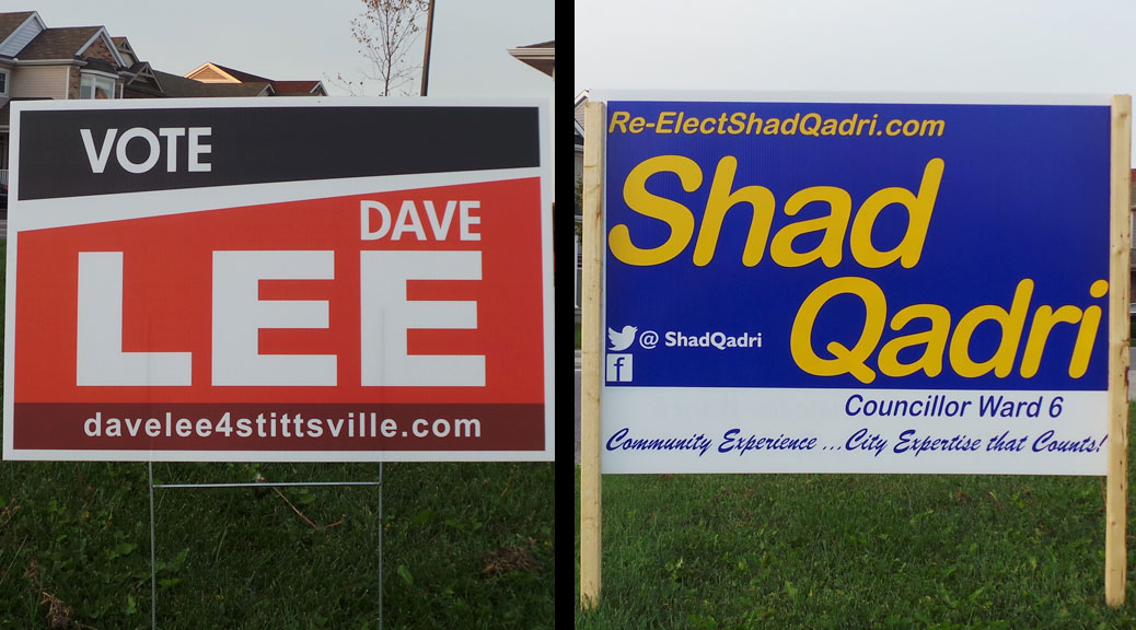 Election signs - Dave Lee and Shad Qadri