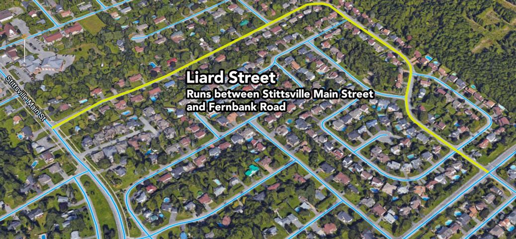 Liard Street in Stittsville runs from Fernbank to Stittsville Main