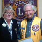 Lion Don Carson presented with a 40 year service pin