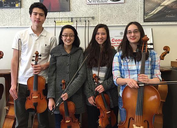 The Lisgar String Quartet. Left to right: Uyen Tran, Rhiannon Ng, Kenya Moore, Alexi Michael