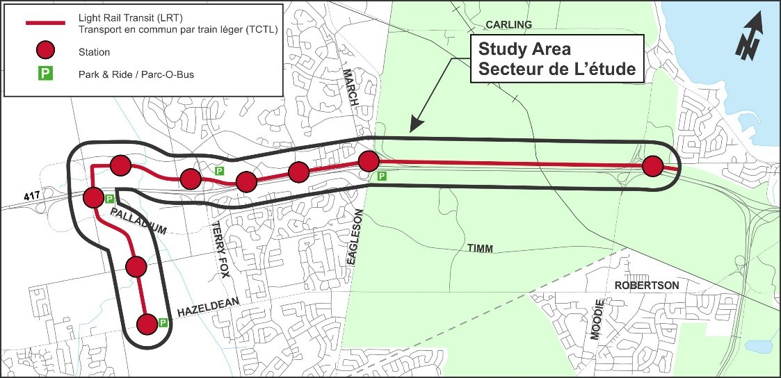 The preferred light rail route from Moodie Drive to Hazeldean Road