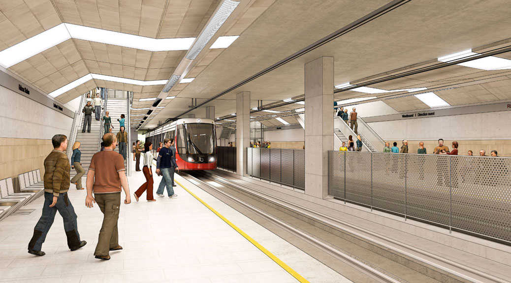 Artist's rendering of the Rideau LRT station downtown. Via City of Ottawa.