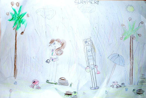 Summer, by Maddie & Brie. Pencil crayons on paper.   Grade 2, Stittsville Public School.