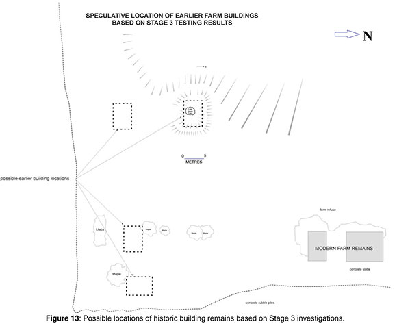 A map showing possible locations of farm buildings.  From the archaeological report prepared by Adams Heritage.