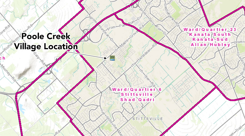 Map of Stittsville showing Poole Creek Village. Via GeoOttawa.
