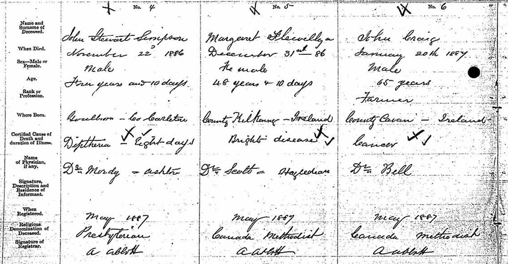 Margaret Flewellyn's death certificate. Her date of death is listed as New Year's Eve, 1886, but her cemetery headstone has her date of death as 1887.
