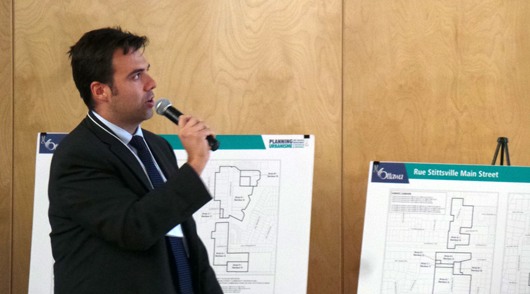 City of Ottawa planner Mark Young presented the new draft plan for Stittsville Main Street at a public meeting on May 20.