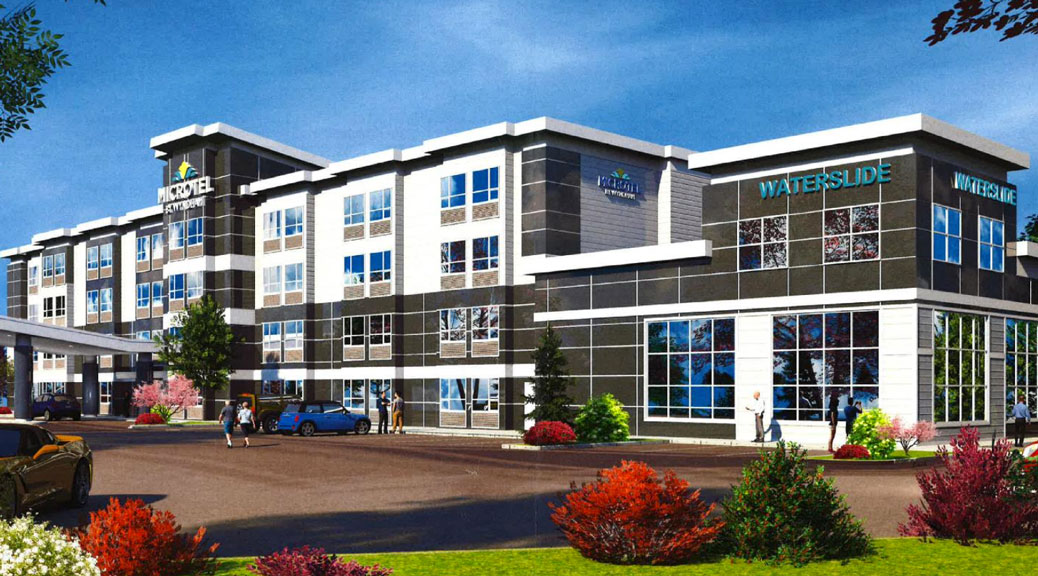 Concept drawing of the proposed Microtel Hotel at 340 Huntmar Drive