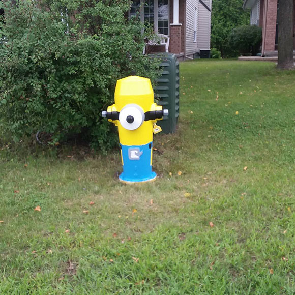 Minion fire hydrant, as seen on Stonepath Crescent in Crossing Bridge