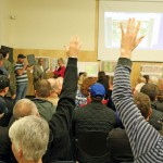 Residents pack hall for lively meeting about Minto development