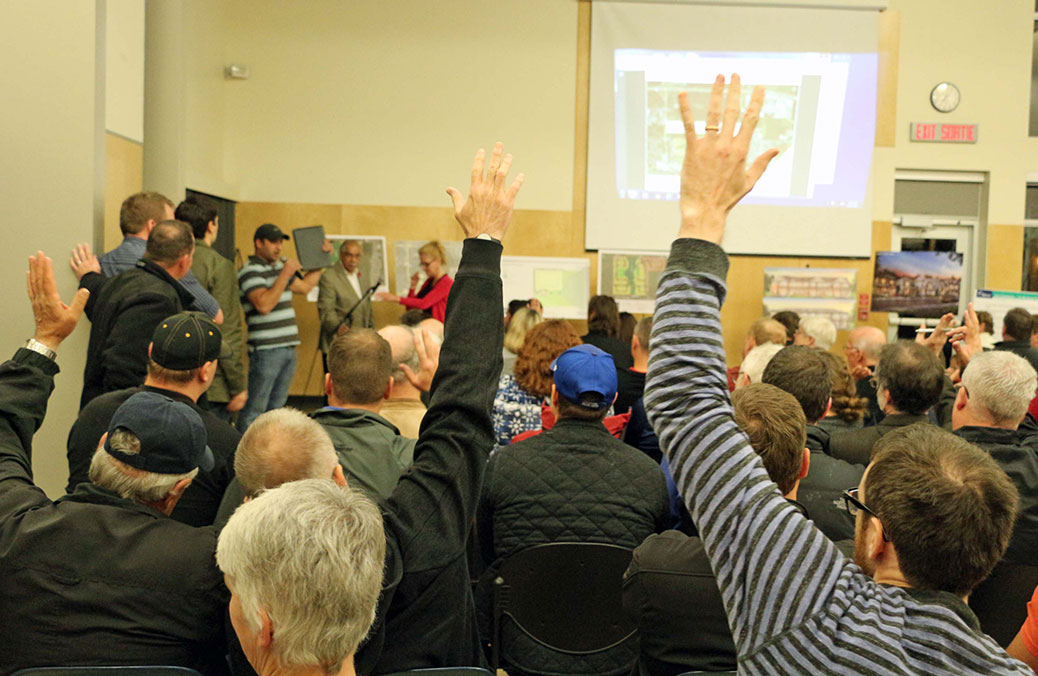 There were approximately 100 people at the public meeting sharing their perspective on the new development and how it will affect their lives. Photo by Shannon Lough.