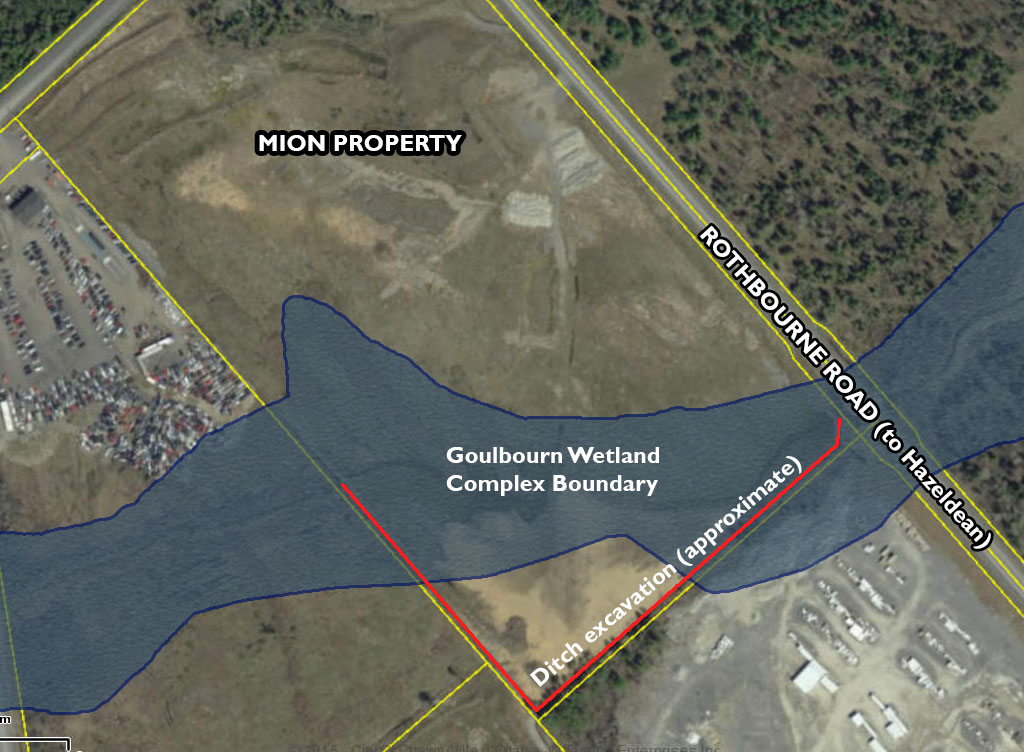 Aerial map of the Mion property. The Goulbourn Wetland Complex runs east-west across the bottom of the land, following the course of a creek. The excavated ditch is shown in red at the bottom of the property. Aerial photo via Google Maps.