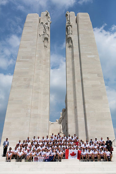 Battlefield Bikeride participants gather in front of the Canadian National Vimy Memorial. Photo by Matthew Wocks.