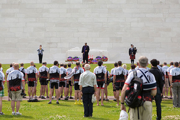Battlefield Bikeride participants pay their respects for Canada's fallen soldiers at the Canadian National Vimy Memorial. Photo by Matthew Wocks.