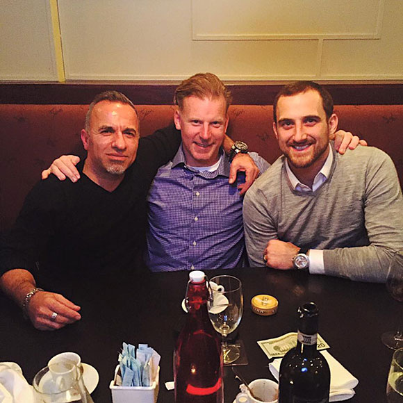 One retired NHL captain (Daniel Alfredsson, Ottawa Senators) and one current NHL captain (Nick Foligno, Columbus Blue Jackets) were at Napoli's on Wednesday night.  They're pictured here with co-owner Bassel Khalil.