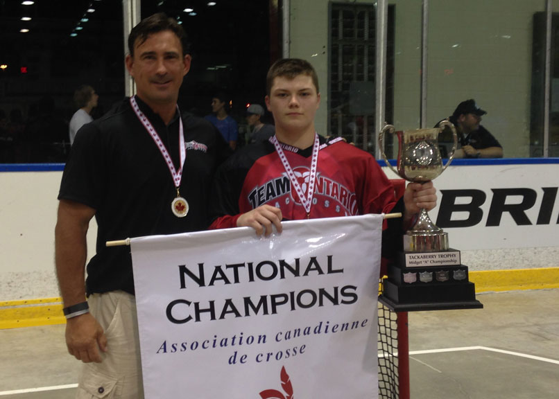 Nathon Grenon celebrates his Team Ontario lacrosse win.