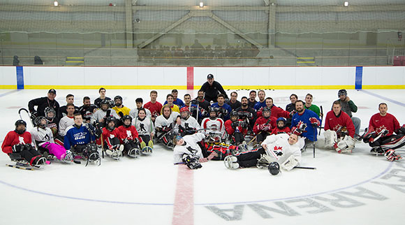 Canada's National Sledge Team was on the ice for two hours with some players from Sledge Hockey of Eastern Ontario. Photo by James Emery, Hockey Canada Images.