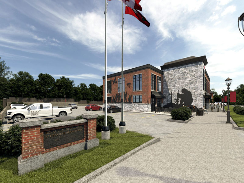 Rendering of the proposed new Stittsville Legion building. Via HDD Hierarchy Development & Design.