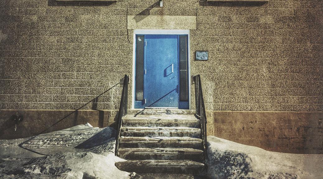 Blue door on the Legion building. Photo by Joe Newton