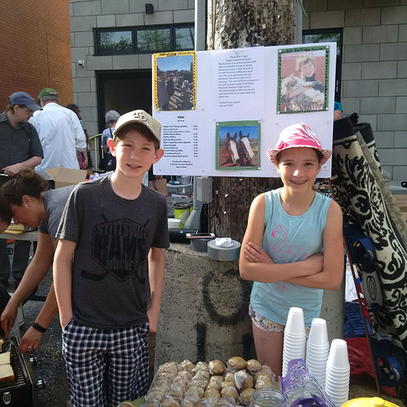 Norah and Jack at the Great Glebe Garage Sale.