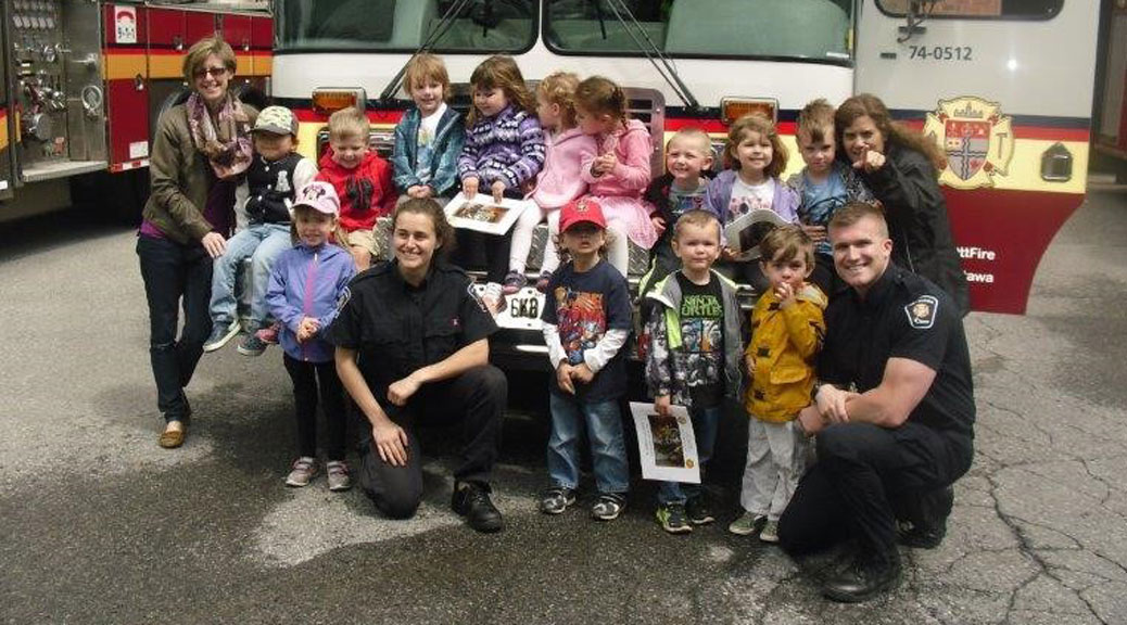 Stittsville Co-Operative Nursery School visits fire station 81