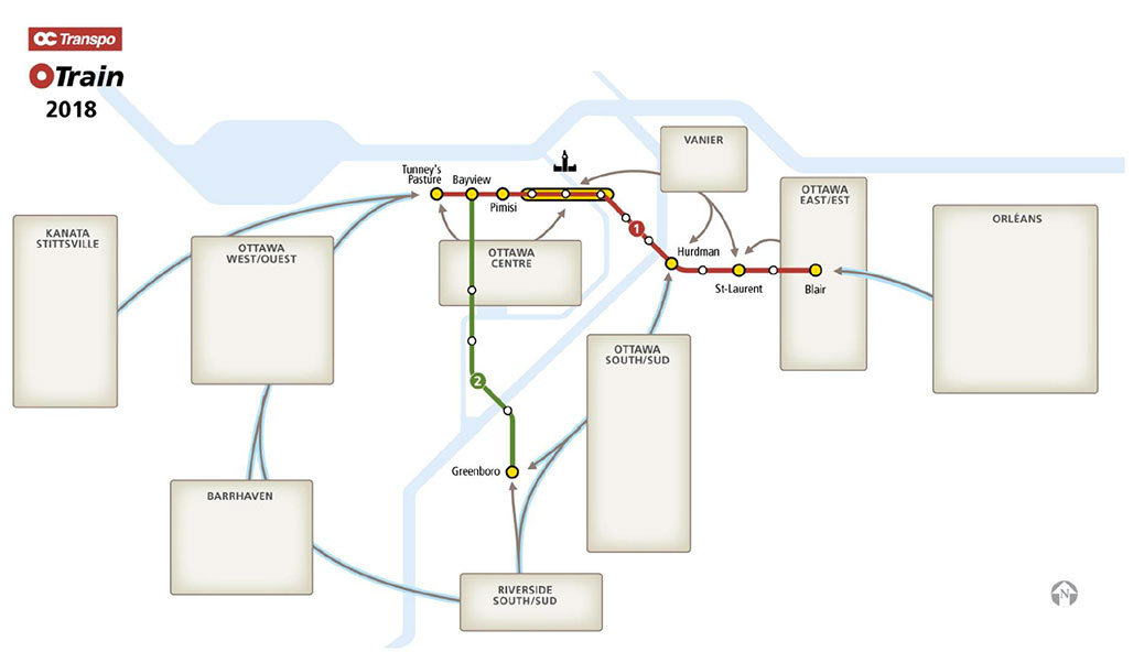 This map shows where bus commuters from different parts of the city will transfer to light rail.