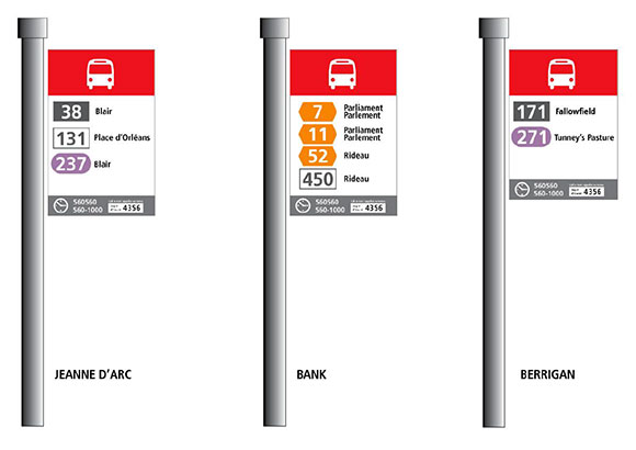 New OC Transpo signage. Routes will be colour-coded by type (local, rapid, connexion, etc.)