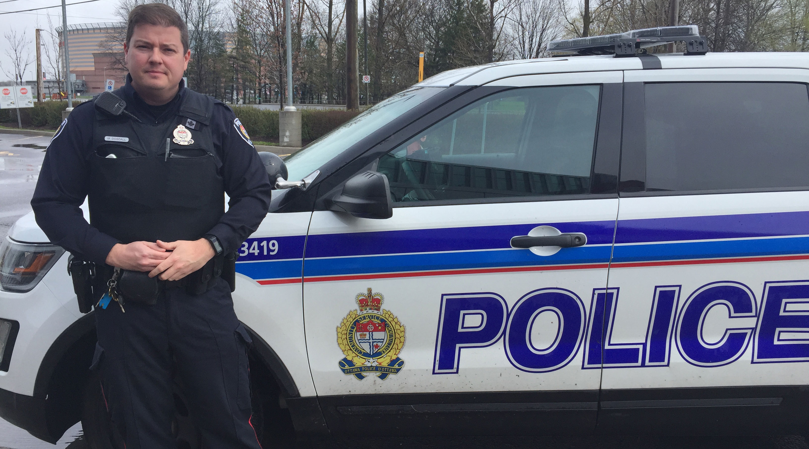 Cst. Mike Dosdall of the Ottawa Police. He's one of several officers who regularly patrol the Stittsville area. Photo by Devyn Barrie.