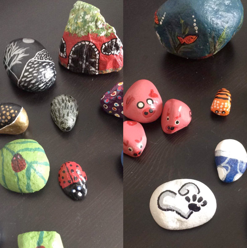 Painted rocks by Wendy Dunn, a leading member of the rock project