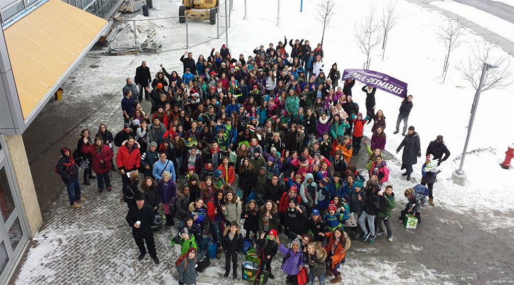 Students gather in front of Ecole Paul-D on a tour last week. Photo courtesy of the school.