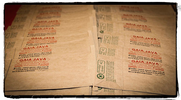 Gaia Java printed coffee bags. Photo by Barry Gray.