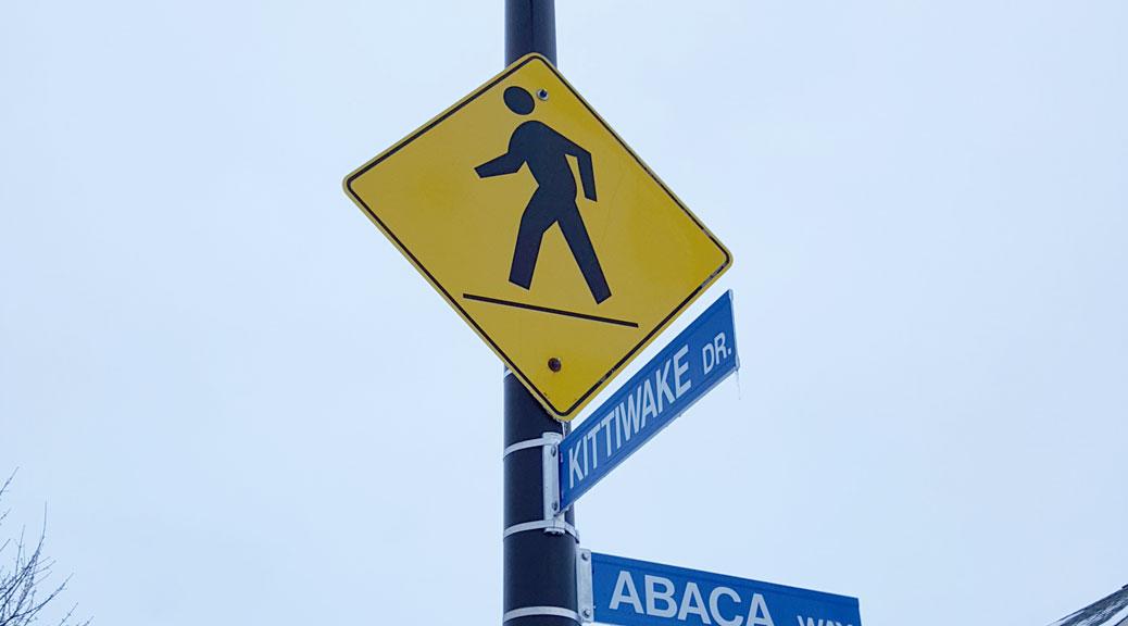 Pedestrian crossing sign on Kittiwake Drive
