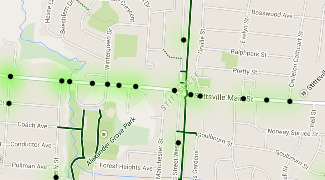 Screen capture of a map showing pedestrian and cyclist collisions in Ottawa from 2004-2013.