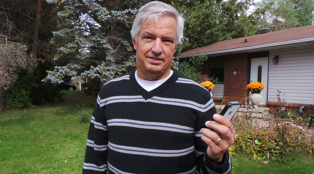 Peter Hanschke in front of his home west of Stittsville Main Street. Photo by Glen Gower.