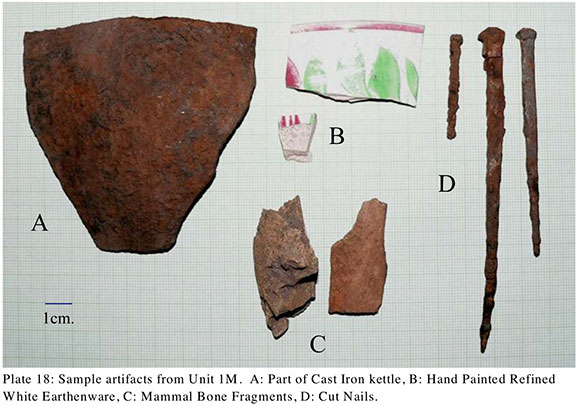 Some of the artifacts excavated from the site. Photo via the archaeological report prepared by Adams Heritage.