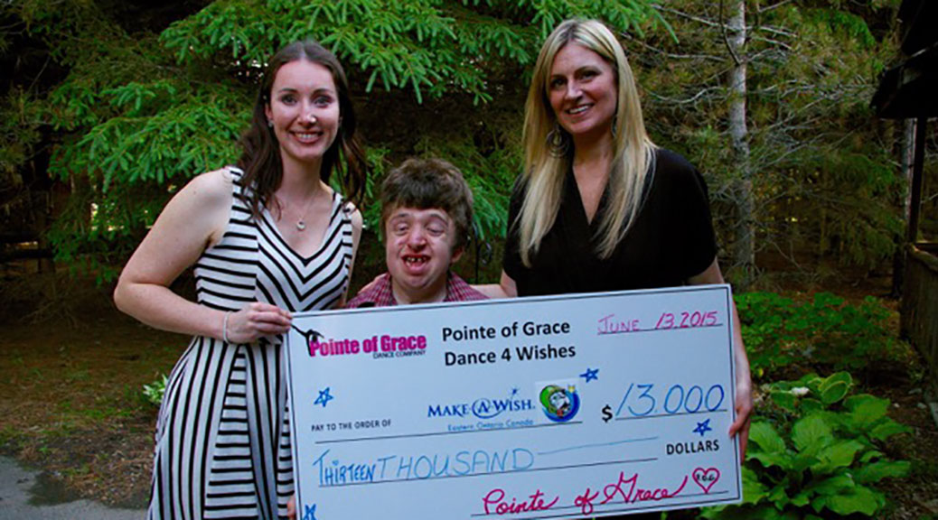 Pointe of Grace Directors Carly Sherwin (left) and Amanda Leroux (right) present Tysen Lefebvre with a cheque for $13,000. Pointe of Grace Dance Company's competitive team raised the funds for Tysen's Mission to a Million for Make-A-Wish Eastern Ontario at their third annual Spring Dance 4 Wishes Showcase, which was held at Sacred Heart High School in March. The donation is enough to grant at least one wish to a child with a life-threatening medical condition or illness. Dancers from the studio's Junior competitive team were honoured to be asked to dance at the Make-A-Wish gala this year.