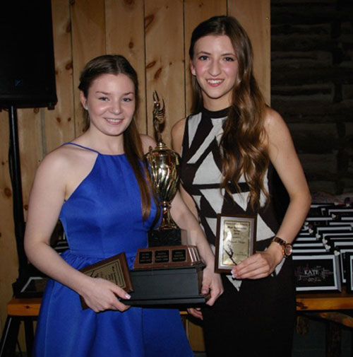 "Olivia Hewitt (left) and Morgan Perigo (right) share this year's ""Most Outstanding Senior"" award. Both dancers are graduating this year and are headed off to exciting new challenges."