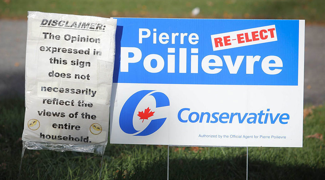 Pierre Poilievre sign with a disclaimer. Photo by Barry Gray.