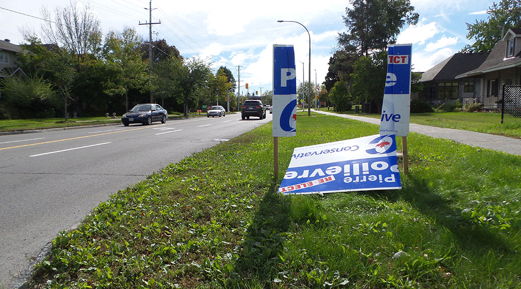 Several of Conservative candidate Pierre Poilievre's signs were damaged along Stittsville Main Street on Saturday night.