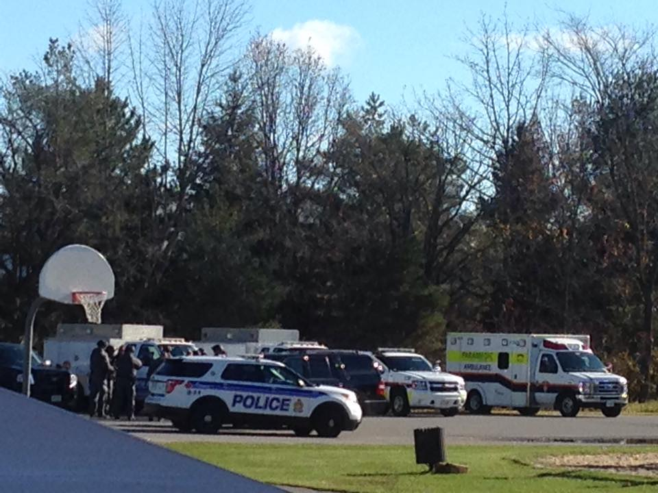 Police vehicles parked at Fringewood Park. Reader photo.