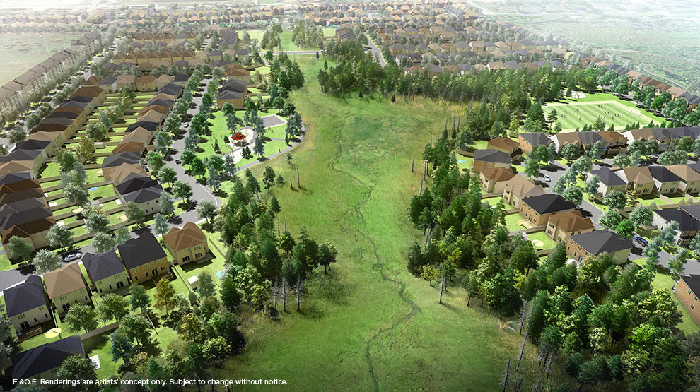 Artist's rendering of a bird's eye view of the Potters Key subdivision. (via Minto)