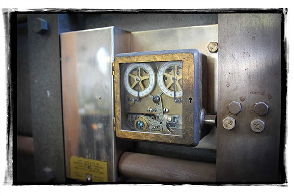 A look at the combination lock on the old bank vault.