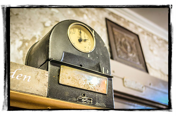 Gorman found an old punch clock in the building that she believes dates back to the building's days as a bank.