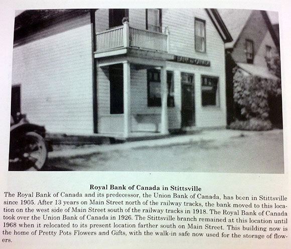 """A photo of the building when it was home to the Royal Bank.  This undated photo and story is from a book called """"Goulbourn Memories"""", published by the Goulbourn Historical Society and available in the reference section at the Stittsville Library."""