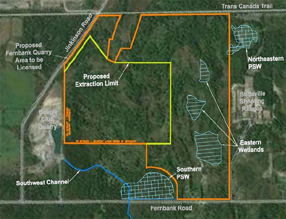 Map of the proposed Taggart quarry land on Fernbank Road west of Stittsville.