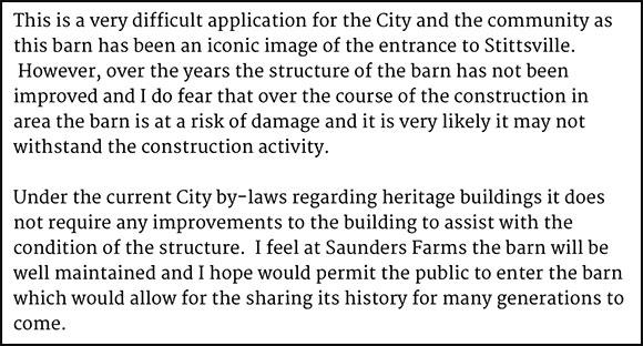 Councillor Qadri comment on Bradley-Craig farmstead, December 4, 2015