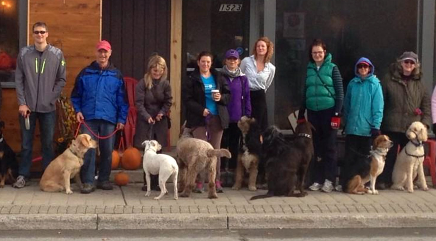 Dog owners gather for a pack walk in front of Quitters last October. Photo via Janet Burns / Dog Dayz Daycare and Training.